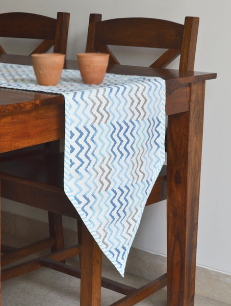 Hand Block Printed Waves Table Runner