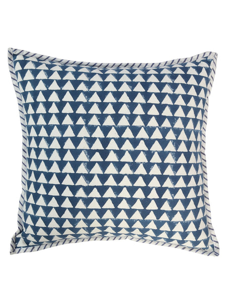 Hand Block Printed Dark Blue Triangles Cushion Cover