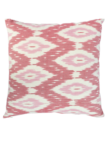 Hand Woven Ikat Pink Cushion Cover