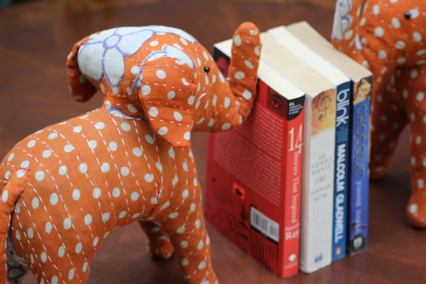 Handmade Kantha Elephant Bookends