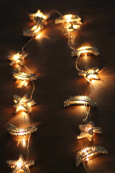 Handmade Cane Star and Moon Lights