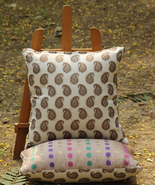 Chanderi Reversible Cushion Cover