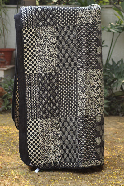 Hand Block Printed Quilted Bed Cover - Black