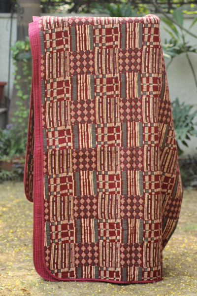 Hand Block Printed Quilted Bed Cover - Maroon