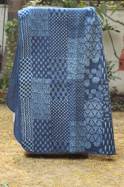 Hand Block Printed Quilted Bed Cover - Blue
