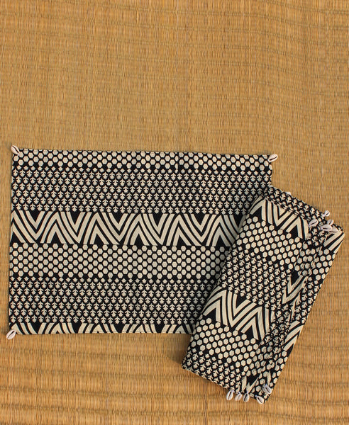 Hand Block Printed Set of 6 Table Mats with Cowry shells - Black