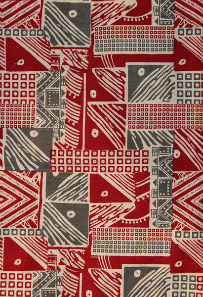 Hand Block Printed Set of 6 Table Mats with Cowry shells - Maroon