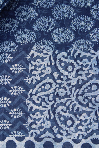Hand Block Printed Set of 6 Table Mats with Cowry shells - Indigo