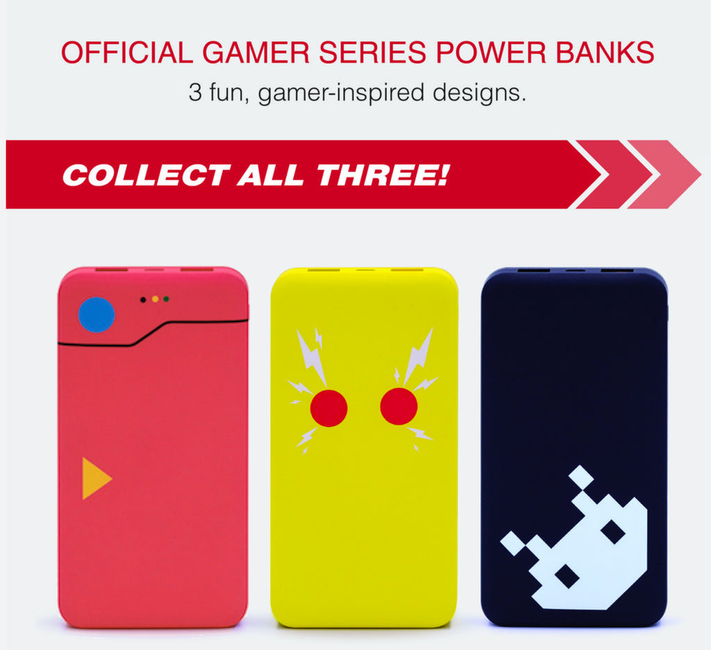 Gamer Series Power Banks - QuickCharge 3.0 Portable Backup Gaming Chargers w/ Stickers -  10000mAh Type C