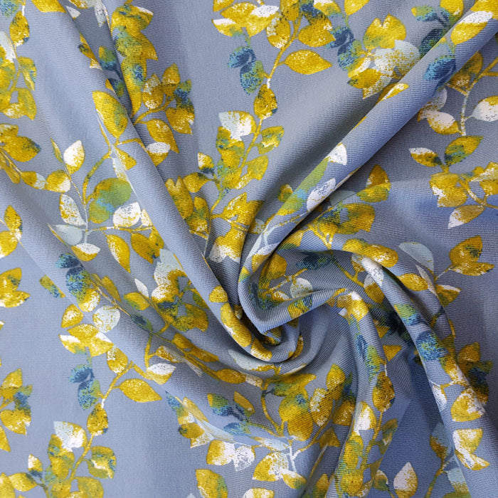 Jersey Fabric Teal/Mustard Floral - The Fabric Bee