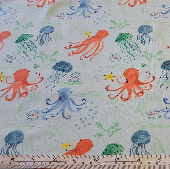 Jersey/Stretch Fabric Octopus/Jelly Fish on Pale Blue Background - The Fabric Bee