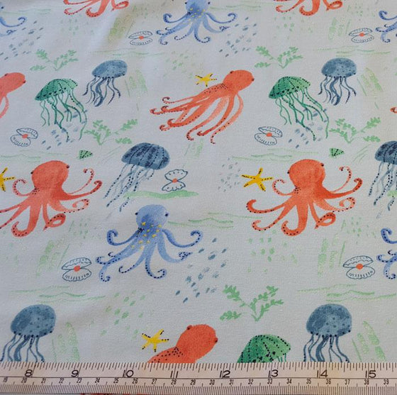 Jersey/Stretch Fabric Octopus/Jelly Fish on Pale Blue Background