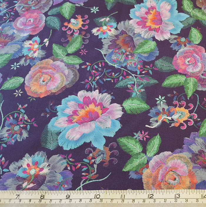 purple floral fabric, warm touch fabric