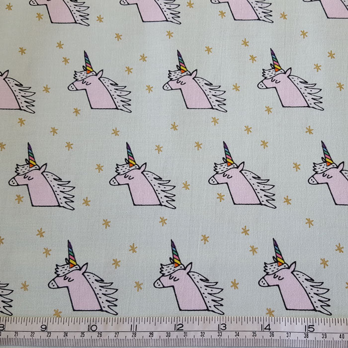 Medium Weight Cotton Fabric Pink Unicorns on Mint with Metallic Gold Stars