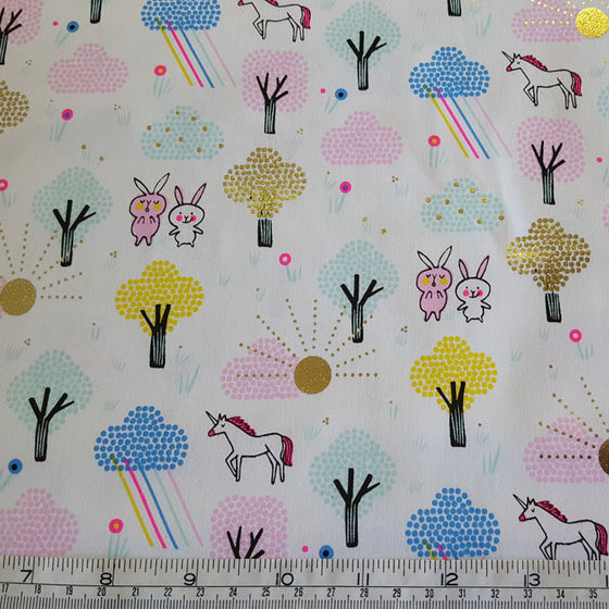 Medium Weight Cotton Fabric Unicorns and Rabbits with Gold Foil