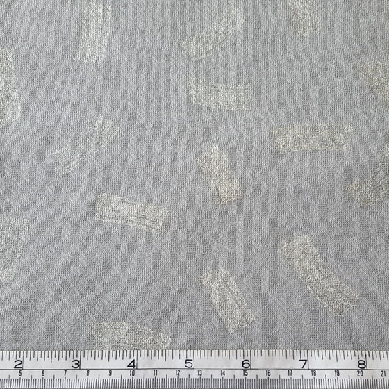 Fleece Backed Sweatshirt Fabric Grey/Aqua with Metallic Brushstrokes - The Fabric Bee