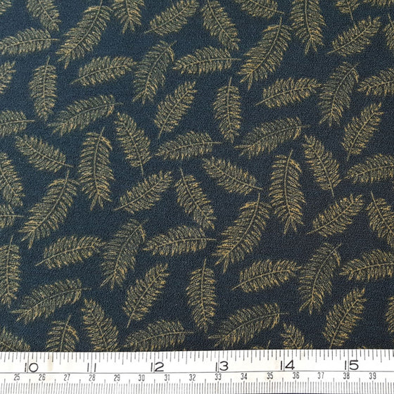 Polyester Crepe Fabric with stretch Beige Feathers on Green Background