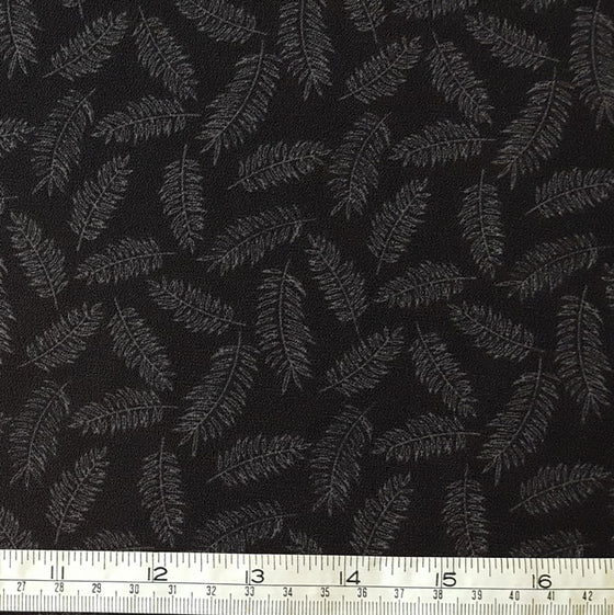 Polyester Crepe Fabric with stretch Grey Feathers on Black Background - The Fabric Bee
