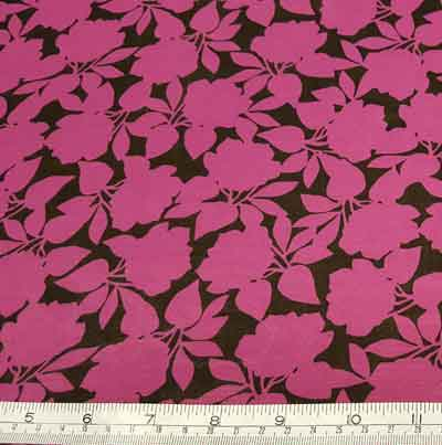 Polyester Chiffon 277104 Fuchsia/Black - The Fabric Bee