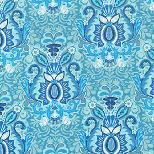 Cotton Poplin Blue floral 37114 - The Fabric Bee