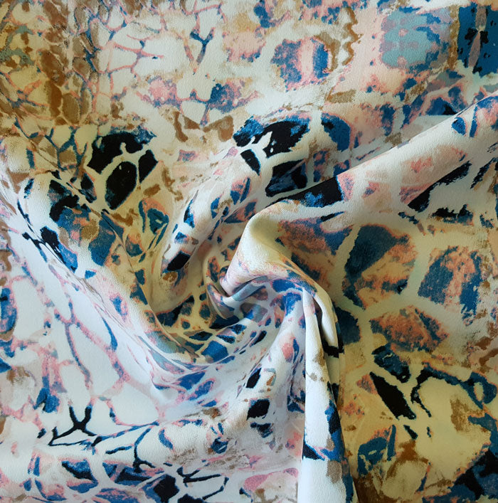 Cotton Sateen with Stretch Blue/Pink Abstract - The Fabric Bee