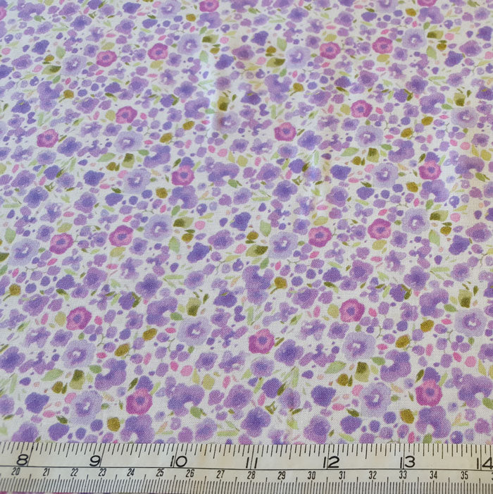 Cotton Lawn Lilac Floral - The Fabric Bee