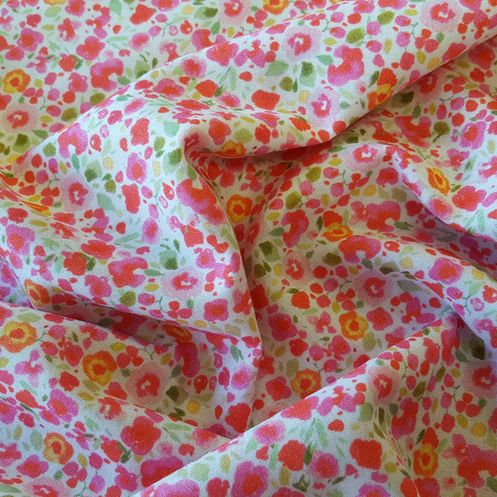 Cotton Lawn Pink Ditsy Floral - The Fabric Bee