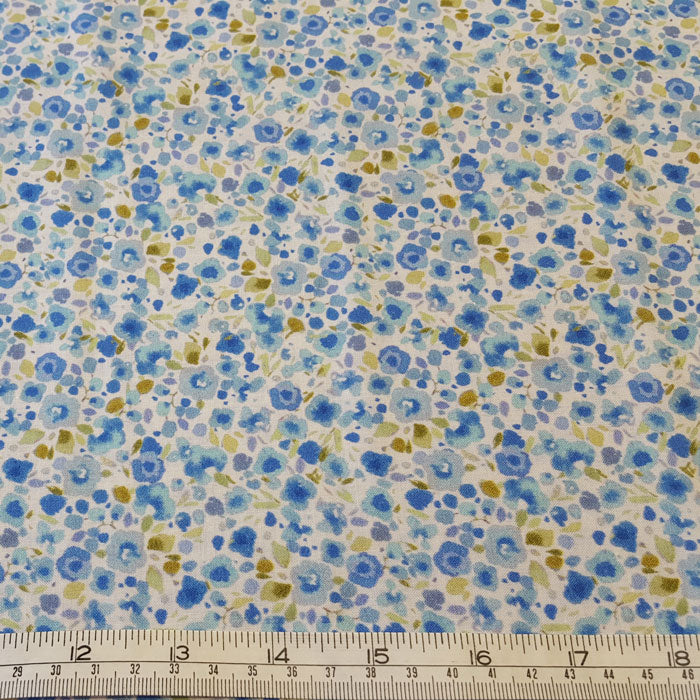 Cotton Lawn Blue Ditsy Floral - The Fabric Bee