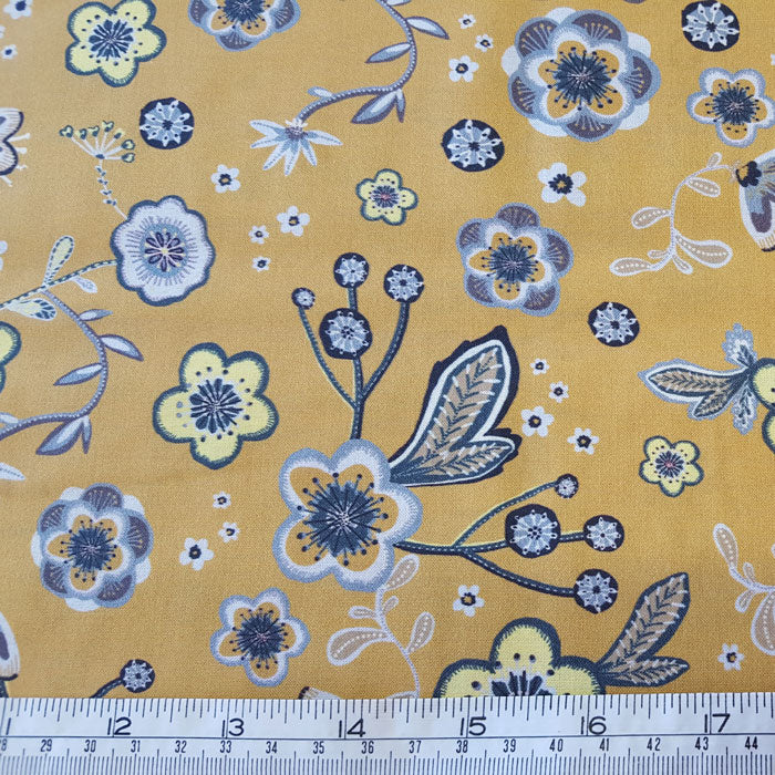 Cotton Lawn Mustard/Grey Floral - The Fabric Bee
