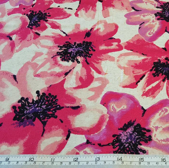 Jersey Fabric Pink Floral on Ivory Background - The Fabric Bee