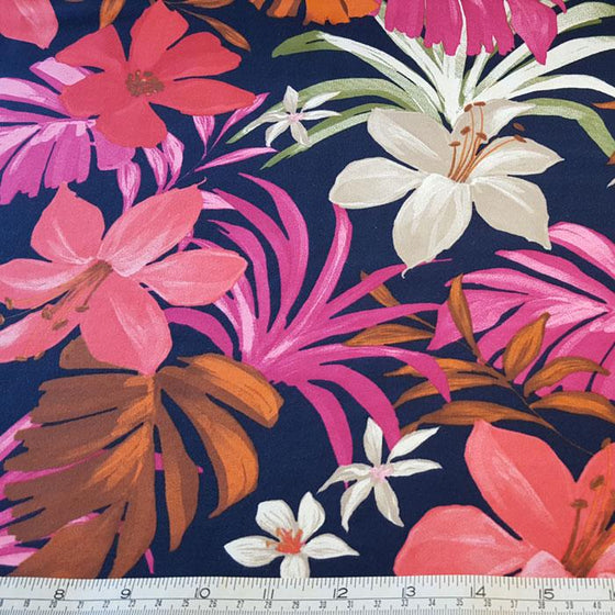 Jersey/Stretch Fabric Cerise Multi Floral Print on Navy Background - The Fabric Bee