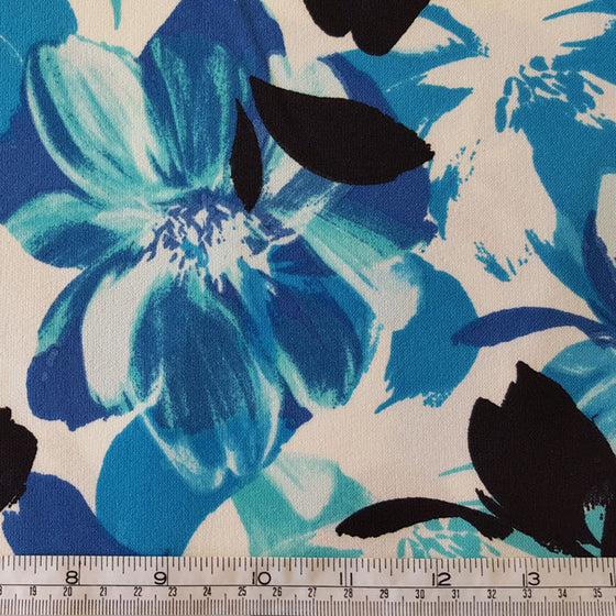 Polyester Crepe Fabric with Stretch Turquoise/Blue Floral on Ivory - The Fabric Bee