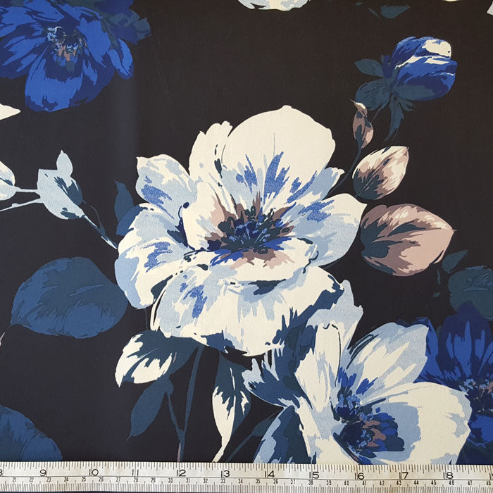 Polyester Fabric with Stretch Blue/White Floral on Black - The Fabric Bee