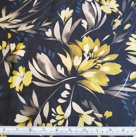Polyester Lime/Navy Floral with Black Background 5137 - The Fabric Bee