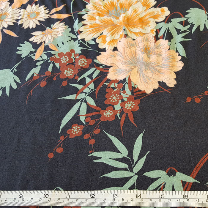 Viscose challis Fabric Peach/Aqua Flowers on Navy Background - The Fabric Bee