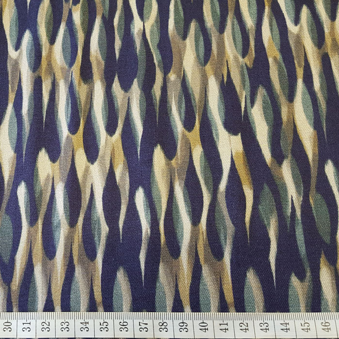 Viscose Twill Fabric Navy/Aqua/Beige Abstract Design - The Fabric Bee