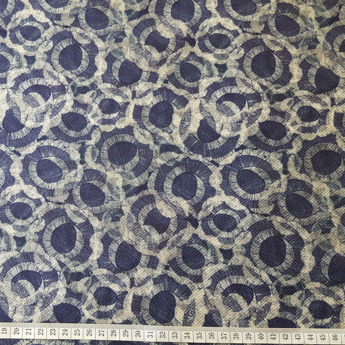 Heavy Cotton Canvas Navy/Stone Circle Design - The Fabric Bee