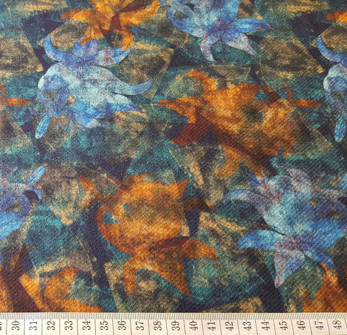Heavy Cotton Canvas Turquoise/Burnt Orange Floral Design - The Fabric Bee