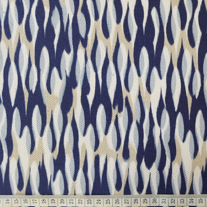 Heavy Cotton Canvas Navy/Beige/White Abstract Design - The Fabric Bee