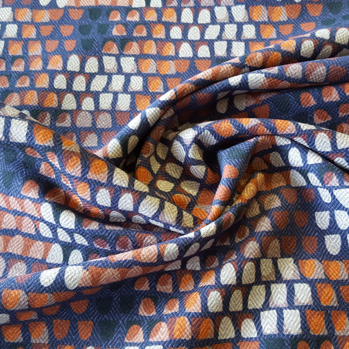 Heavy Cotton Canvas Navy/Stone/Terracotta Abstract Design - The Fabric Bee