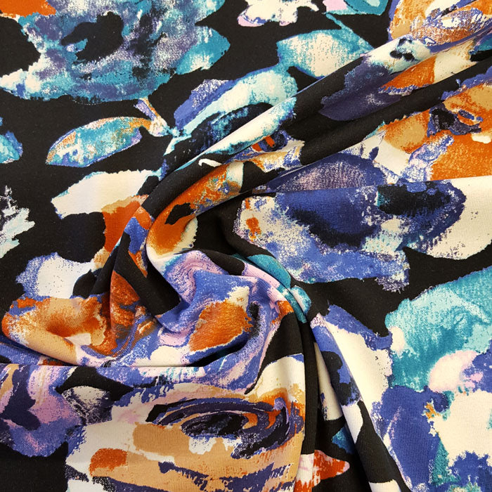 Jersey Fabric Large Floral on Black - The Fabric Bee