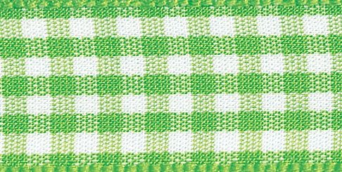 Gingham Ribbon Meadow Green - The Fabric Bee