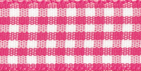 Gingham Ribbon Shocking Pink - The Fabric Bee
