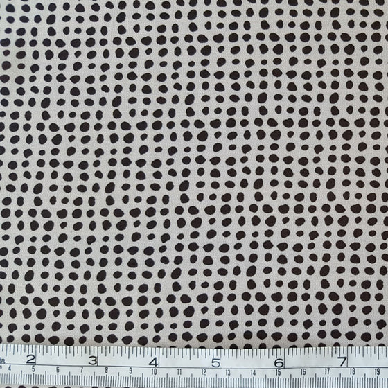Polyester Chiffon Black Spot on Ivory - The Fabric Bee