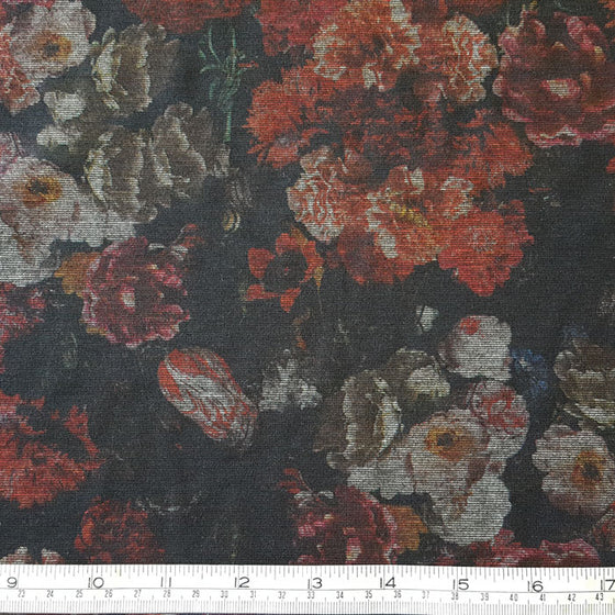 Jersey/Stretch Fabric Dark Red Multi Floral Tapestry Effect Print - The Fabric Bee