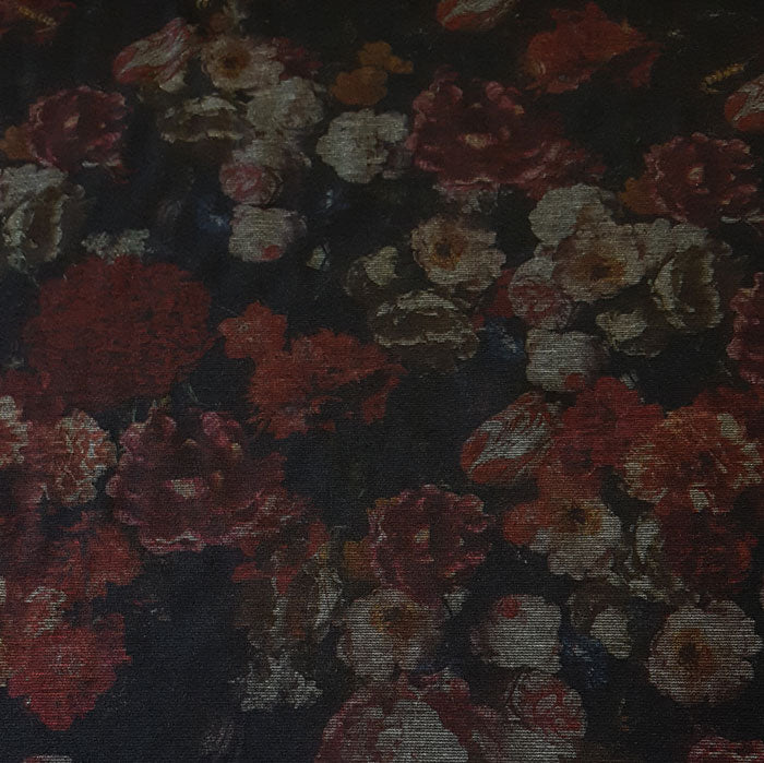 Jersey/Stretch Fabric Dark Red Multi Floral Tapestry Effect Print