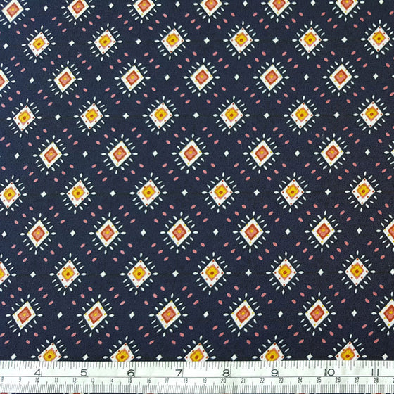 Polyester Multi Diamonds on Navy Background - The Fabric Bee
