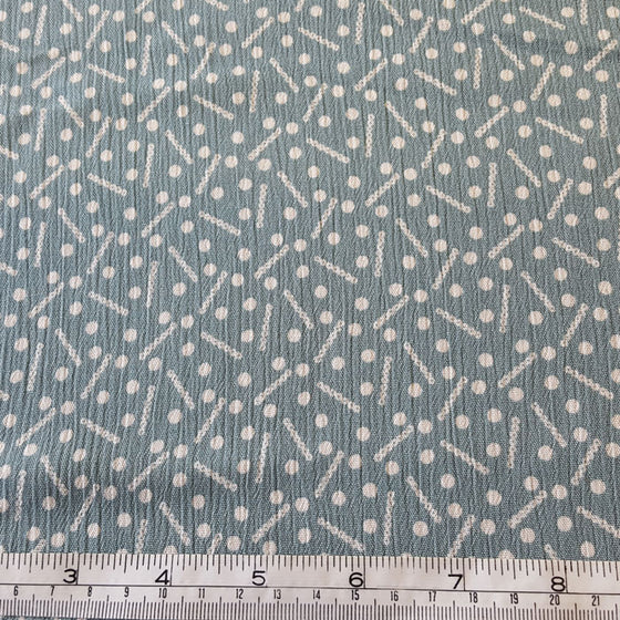 Crinkle Viscose White Dot Dash on Duck Egg Blue Background - The Fabric Bee