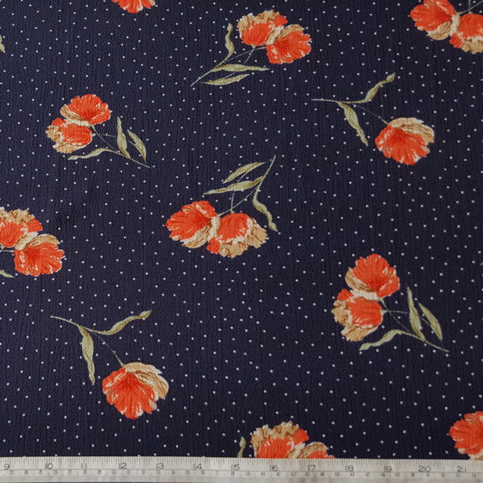 Polyester Morocaine Coral Flowers with Spots on Navy Background - The Fabric Bee
