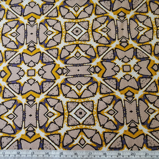 Viscose/Linen Blend Tribal Print on Beige Background - The Fabric Bee